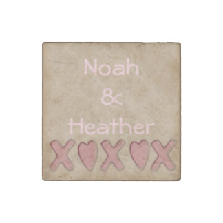 Rustic XOXO Couples Personalized Stone Magnet