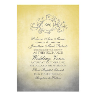 Rustic Yellow and Grey Bohemian Wedding Invitation