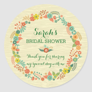 Rustic Yellow Floral Wreath Bridal Wedding Shower Round Stickers