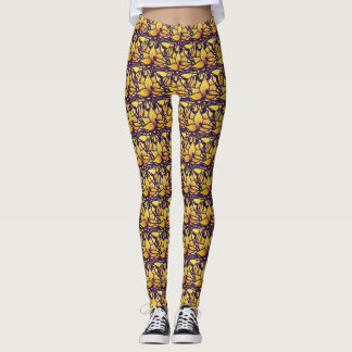 Rustic Yellow Lotus Flowers Leggings