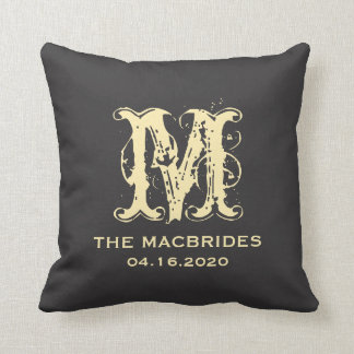 Rustic Yellow Monogram against Black Wedding Date Pillows