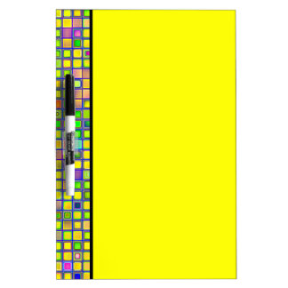 Rustic Yellow Mosaic Clay Tiles Pattern Dry-Erase Whiteboards