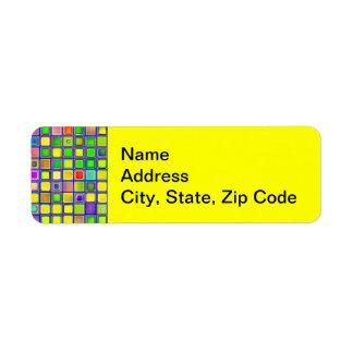 Rustic Yellow Mosaic Clay Tiles Pattern Return Address Label
