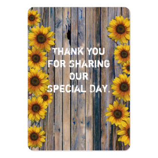 Rustic yellow sunflower favor thank you tag large business card