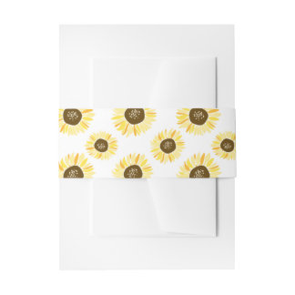 Rustic Yellow Sunflowers Pattern Floral Belly Band Invitation Belly Band