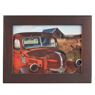 Rusting orange Dodge truck with abandoned farm Memory Box