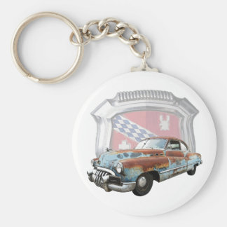 Rusty 1950 Buick with Emblem Key Chain