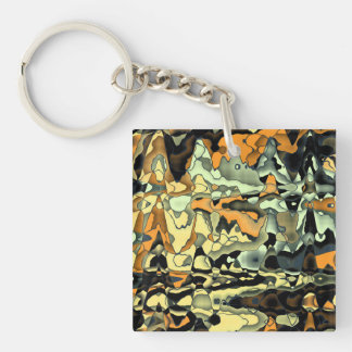 Rusty abstract Double-Sided square acrylic keychain