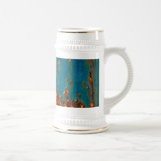 Rusty Abstract Landscape Painting Beer Stein