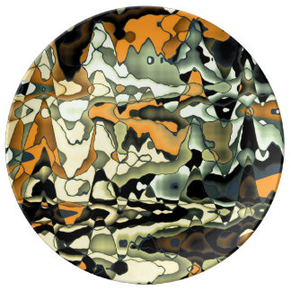 Rusty abstract porcelain plates
