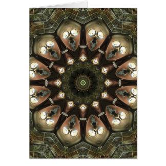 Rusty Alien heads kaleidoscope Greeting Card