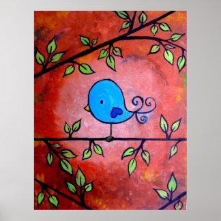 Rusty Blue Bird Poster
