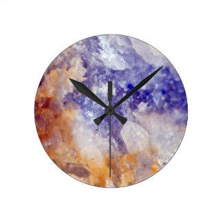 Rusty Blue Quartz Crystal Round Clock