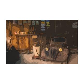 Rusty Broken Car in Old Garage Canvas
