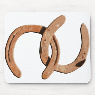 Rusty Brown Horse Shoes Mouse Pad