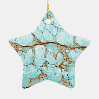Rusty Cracked Turquoise Ceramic Star Ornament