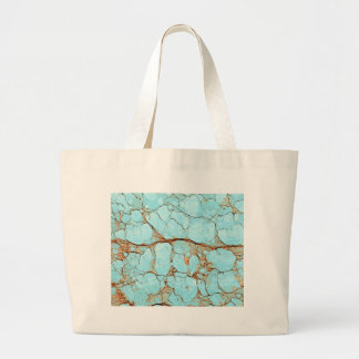 Rusty Cracked Turquoise Large Tote Bag