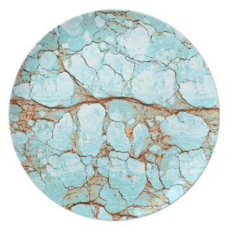 Rusty Cracked Turquoise Party Plate