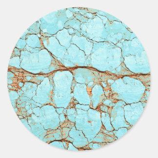 Rusty Cracked Turquoise Round Sticker