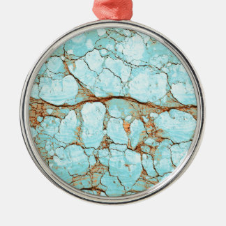 Rusty Cracked Turquoise Silver-Colored Round Ornament