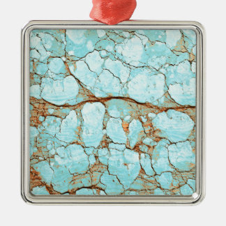Rusty Cracked Turquoise Silver-Colored Square Ornament