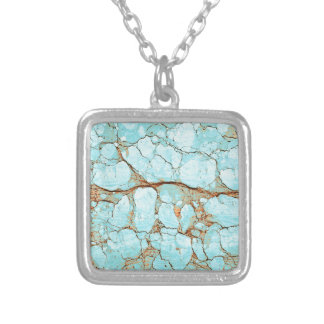 Rusty Cracked Turquoise Silver Plated Necklace