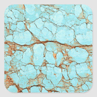 Rusty Cracked Turquoise Square Sticker
