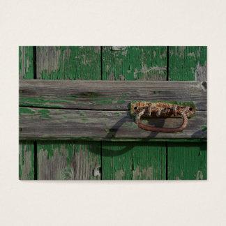 Rusty Door Handle On Green Door Business Card