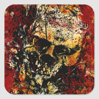 Rusty Eroded Skull Square Sticker
