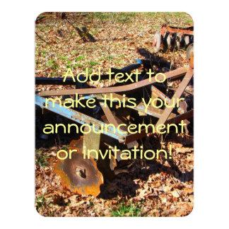 """Rusty Farm Field Equipment 4.25"""" X 5.5"""" Invitation Card"""