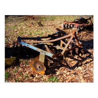 Rusty Farm Field Equipment Postcard