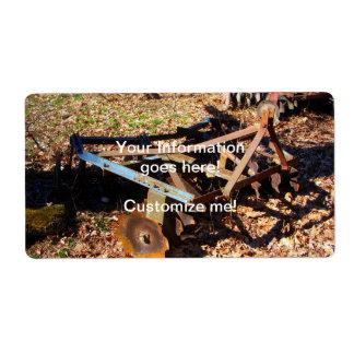 Rusty Farm Field Equipment Shipping Label