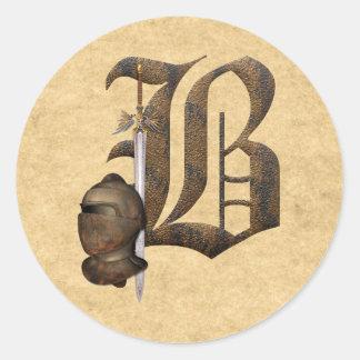 Rusty Knights Initial B Classic Round Sticker