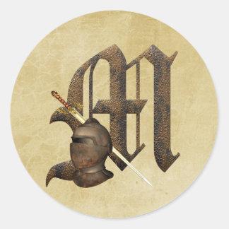 Rusty Knights Initial M Classic Round Sticker