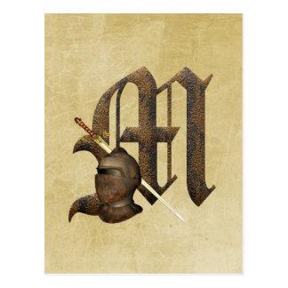 Rusty Knights Initial M Postcard
