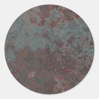 Rusty metal design classic round sticker