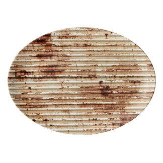 Rusty Metal Grunge Background Porcelain Serving Platter