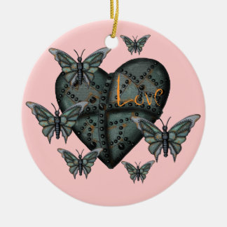 Rusty metal love heart and butterflies ornament