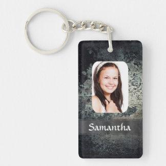 Rusty metal photo template Double-Sided rectangular acrylic keychain