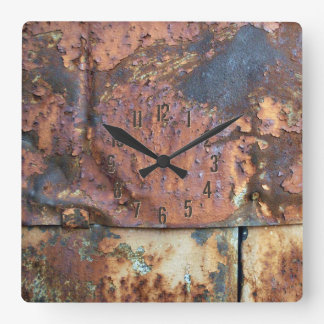 Rusty Metal Siding Old Industrial Building Square Wall Clock