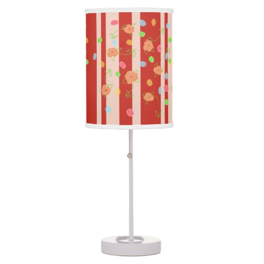 Rusty Modern Stripe Floral Polka-Dot Print Table Lamp
