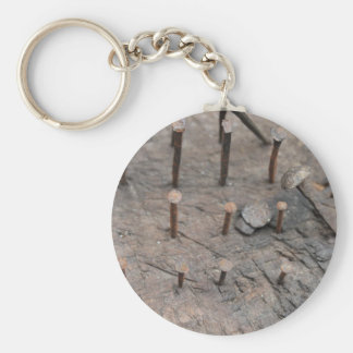 rusty nails basic round button keychain