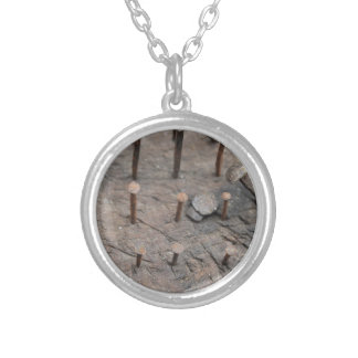 rusty nails silver plated necklace