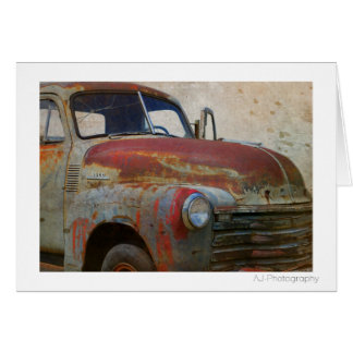 Rusty Old Antique Car Card