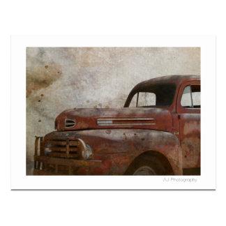 Rusty Old Antique Car Postcard