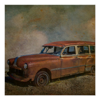 Rusty Old Antique Car Poster