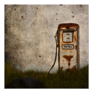 Rusty Old Antique gas pump Poster