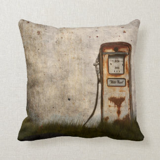 Rusty Old Antique gas pump Throw Pillow