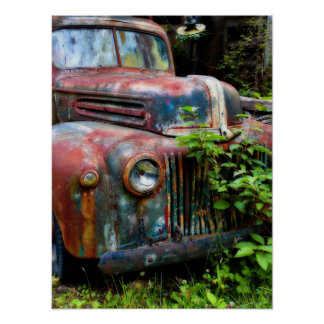 Rusty Old Antique Truck Poster