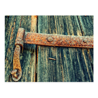 Rusty Old Barn Door Butt Hinge Postcard